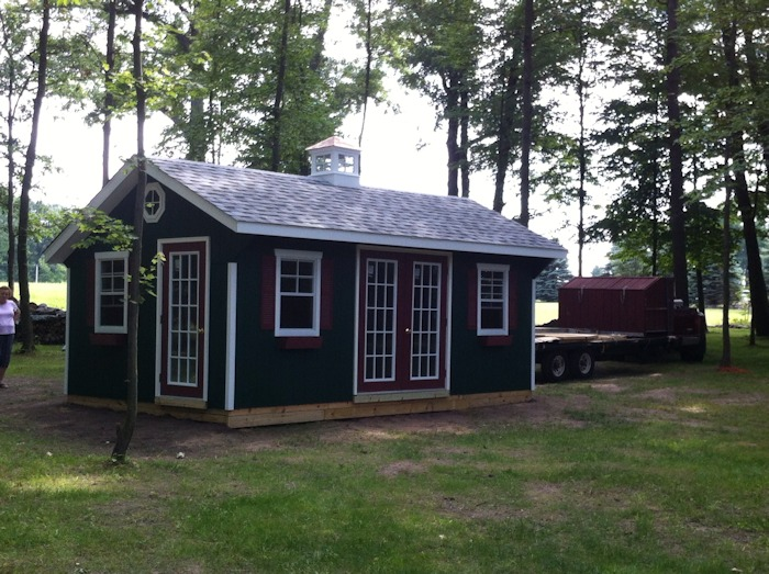 Completed Shed with Customer Eastern MI