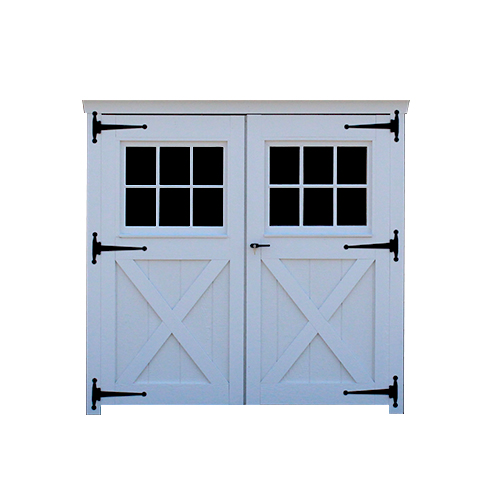 Wood Carriage House Double Door with Squared Glass