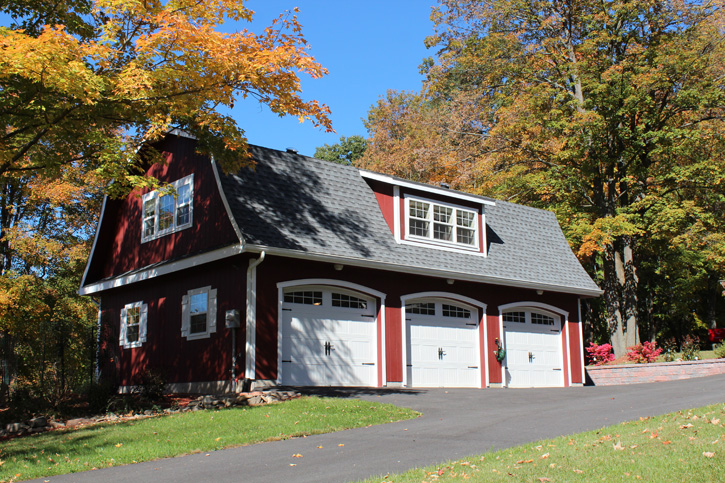 A gambrel roof Garage converted into an Accessory Dwelling Unit