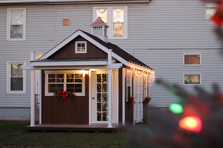 Christmas themed storage shed